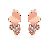 Rose Gold Double Heart Shaped Earrings with Rhinestones