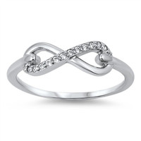 Sterling Silver Round Cut CZ Infinity Ring Size 4-12