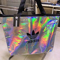 Adidas New fashion letter leaf print reflective shoulder bag handbag