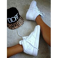 NIKE Women Men Running Sport Casual Shoes Sneakers Air force high tops shoes White