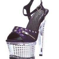 "Ellie Shoes Zane 6"" Textured Platform Purple Nine"