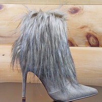 "Cape Mini Furry Ankle Boot Pointy Toe FX Fur 4"" Heel Nude Beige"