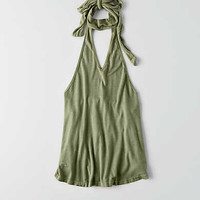 Don't Ask Why Deep V Choker Halter Tank, Olive