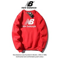 New Balance Fashion New Letter Print Women Men Long Sleeve Top Sweater