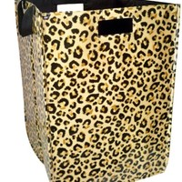 Leopard Lumper Collapsible Folding Flat Laundry Organizer with Handles, 23 x 16 x 16 in