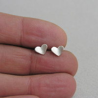 Tiny post hearts earrings, sterling silver, black hearts, butterfly hearts, love studs, gift for her, every day earrings