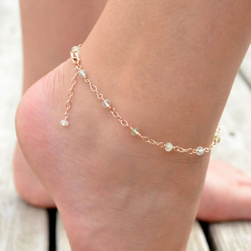 Rose Gold Anklet, Prehnite Gemstone Jewelry, Genuine Stone, Mint Green, Pink Gold Chain, Dainty Summer Jewelry, Free Shipping