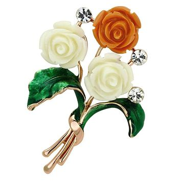 Vintage Brooches LO2790 Flash Rose Gold White Metal Brooches with Synthetic