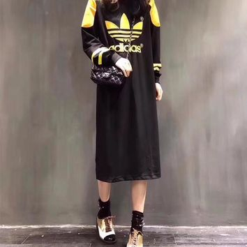 """""""Adidas"""" Women Fashion Casual Multicolor Clover Letter Embroidery Long Sleeve T-shirt Maxi Dress"""