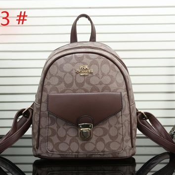 COACH Fashion new flower star leaf floral print high capacity travel leisure backpack bag