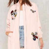What a Patch Bomber Maxi Jacket
