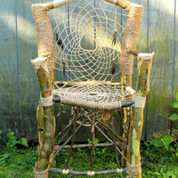 Custom Dream Catcher Chair - Handmade & Recycled Tree Limb Furniture - Rustic Chair - Tree Branch Furniture - FREE U.S. SHIPPING