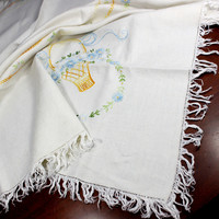 Embroidered Tablecloth, Wheat Colored Linen Table Cloth, 12350