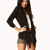 Draped Lace Open-Front Cardigan