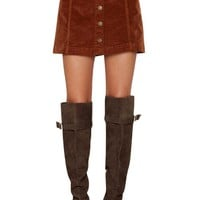 Chic High-Waisted Single-Breasted A-Line Women's Corduroy Skirt