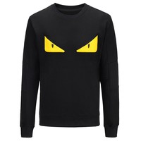 Fendi 2018 autumn and winter new monster eyes round neck long-sleeved sweater Black