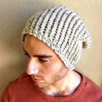 Super Slouch Beanie with Ribbed Knit Detail, Slouchy Beanie Hat in Beige for Men, Mens Slouchy Beanie Handmade,  Mens Wool Beanie, Wool Hat.