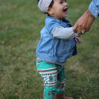 Toddler Turquoise Leggings- Tribal Print