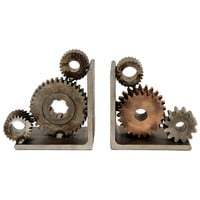 Quotient - Pair of Industrial Gear Bookends - 1stdibs
