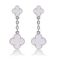 Beady Cleef Double Clover - Silver & White
