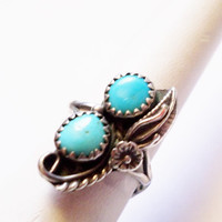 Turquoise Silver Feather and Flower Ring size 5 1/2