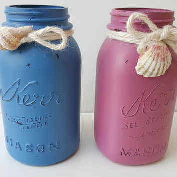 Hand Painted Mason Jar - Beach Themed Violet and Blue Distressed Jars with Seashells - Decorative Vase
