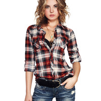 Soft Plaid Knit Pocket Shirt | Wet Seal