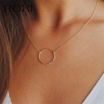 ROXI Simple 925 Sterling Silver Necklace Karma Round Circle Pendant Necklace for Women Fashion Clavicle Chain Statement Necklace