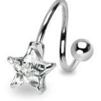 Belly Button Ring Navel Spiral Star Body Jewelry Twist 14 Gauge Ho67