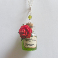 Polyjuice Potion Bottle Pendant Necklace Miniature Food Jewelry