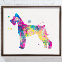 Watercolor Dog, Watercolor Giant Schnauzer, Giant Schnauzer Art, Giant Schnauzer Print, Giant Schnauzer Painting, Dog Wall Art, Colorful