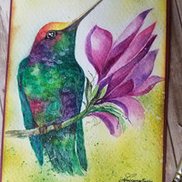 RESERVED - Original Handpainted, Hummingbird Greeting card, Greeting Card, Hummingbird  Watercolor.