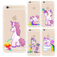 For Apple iPhone 4 4S 5 5S SE 5C 6 6S 7 Plus 6SPlus Cute Hippo Rainbow Unicorn Horse Clear Plastic Case Back Cover
