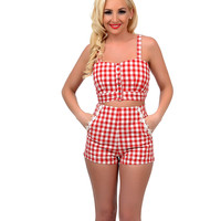 1940s Style Red & Cream Gingham Button Up Crop Top