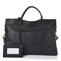Balenciaga Blackout City Black Perforated Leather Bag