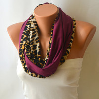 leopard infinity scarf - double face purple and leopard infinity scarf loop scarf circle scarf winter scarf christmas gifts