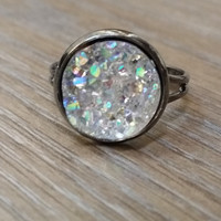 Druzy Ring- ab light grey drusy gunmetal tone druzy ring