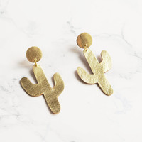 Handmade gold leather cactus earrings