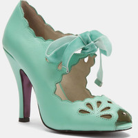 Mint Open Toe Scalloped Barbie Heels