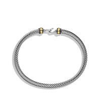 Cable Buckle Bracelet with Gold, 4mm