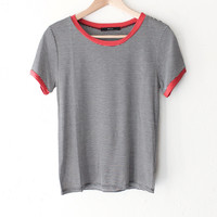 Striped Ringer Tee - Red