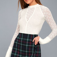 No Limits White Lace Long Sleeve Top