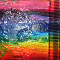 """On SALE Melted crayon art, rainbow colors, 15"""" X 17.5"""""""