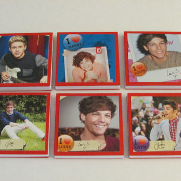 One Direction Note Pads Set of 6 - Excellent Party Favors - Harry Louis Liam Niall Zayn - Set #2