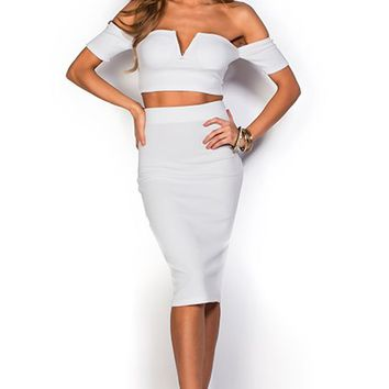 Marie White Off Shoulder Crop Top and Skirt Two Piece Dress Set