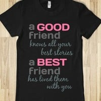 Good Friend, Best Friend-Female Black T-Shirt