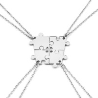 4 Pieces Silver Color Interlocking Jigsaw Puzzle Pendants Necklace Family Necklace Best Friend Gift