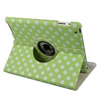 Green and White Polka Dot Pattern PU Leather Case For iPad 2 and New iPad 3rd gen With 360 Degrees Rotating Stand