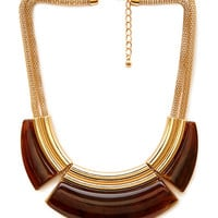 FOREVER 21 Faux Tortoiseshell Bib Necklace Brown/Gold One