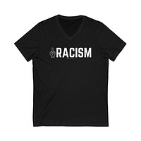 Middle Fingers Up to Racism - Unisex V-Neck Tee